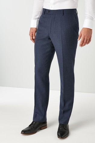 Blue Regular Fit Signature Flannel Suit: Trousers