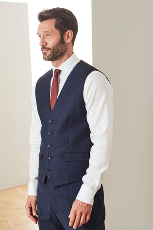 Blue Signature Flannel Suit: Waistcoat