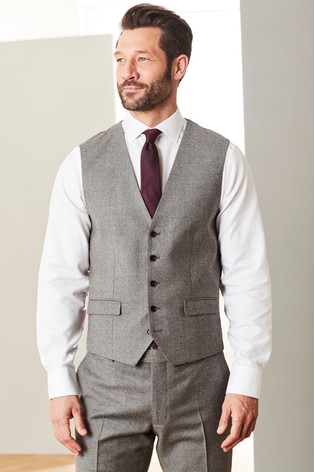 Brown Signature Flannel Suit: Waistcoat
