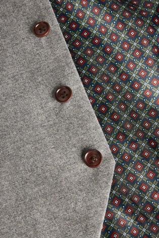 Brown Signature Flannel Suit: Waistcoat