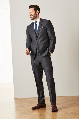 Grey Tailored Fit Signature Flannel Suit: Jacket