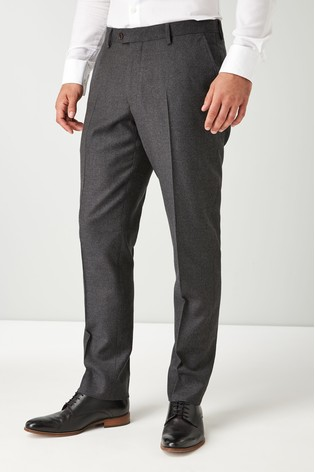 Grey Tailored Fit Signature Flannel Suit: Trousers