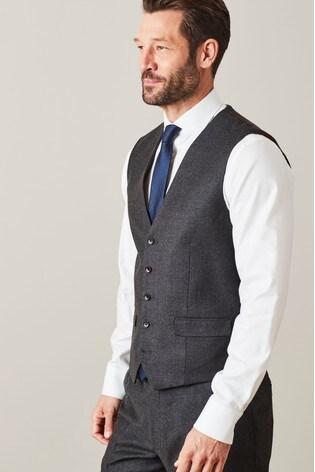 Grey Signature Flannel Suit: Waistcoat