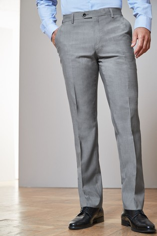 Light Grey Regular Fit Signature Suit: Trousers