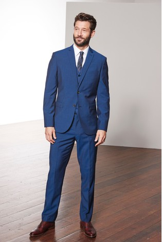 Bright Blue Slim Fit Signature Suit: Jacket