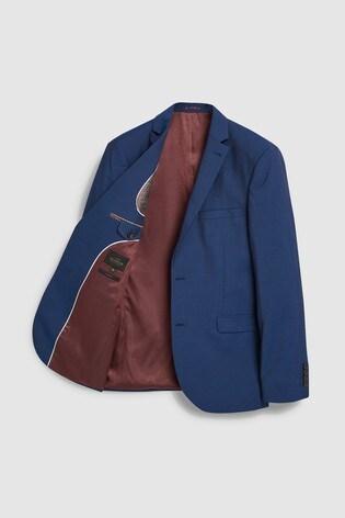 Bright Blue Slim Fit Signature Suit: Jacket
