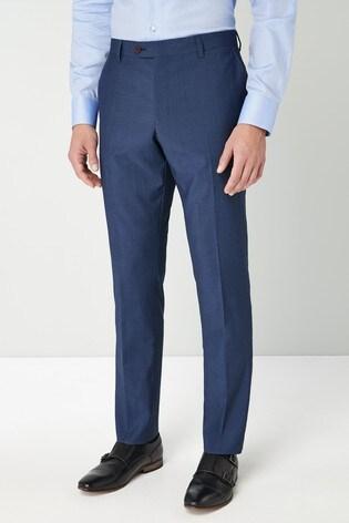 Blue Slim Fit Signature Suit: Trousers