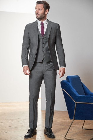 Grey Slim Fit Signature Suit: Jacket