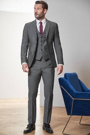 Grey Slim Fit Signature Suit: Jacket