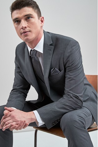 Grey Tailored Fit Signature Suit: Jacket