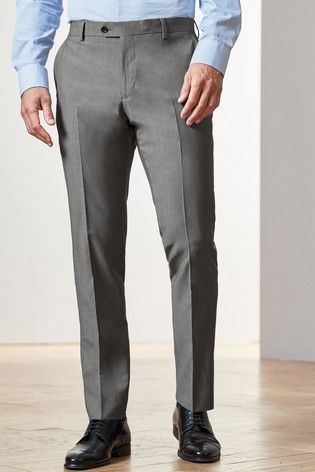 Light Grey Slim Fit Signature Suit: Trousers