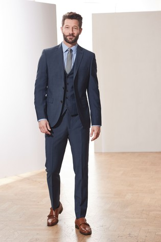 Blue Slim Fit Signature Suit: Jacket