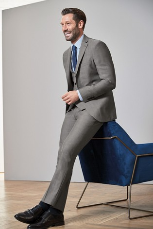 Light Grey Slim Fit Signature Suit: Jacket