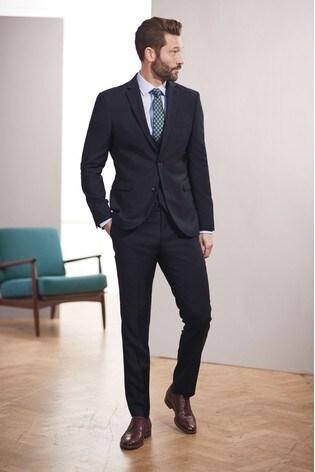 Navy Slim Fit Signature Suit: Jacket