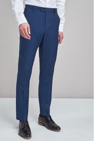 Bright Blue Slim Fit Signature Suit: Trousers