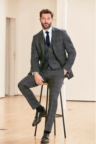 Grey/Blue Jacket Slim Fit Signature Check Suit: Jacket