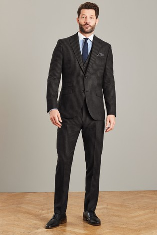 Black Slim Fit Signature Stripe Suit: Jacket