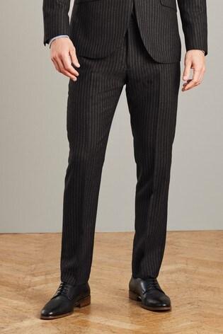 Black Slim Fit Signature Stripe Suit: Trousers