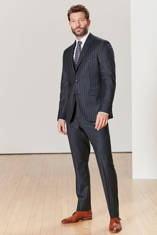 Navy Tailored Fit Signature Stripe Suit: Jacket