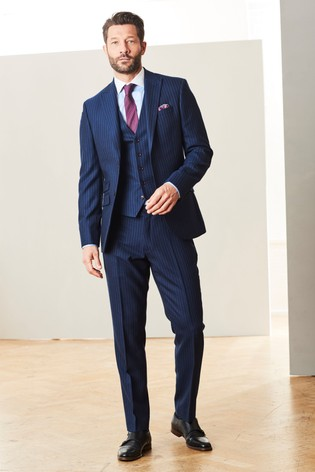 Blue Slim Fit Signature Stripe Suit: Jacket