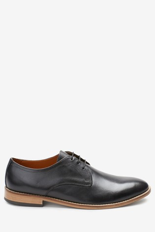 Black Contrast Sole Leather Derby Shoes