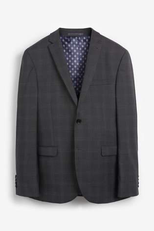 Charcoal Jacket Signature Birdseye Check Slim Fit Suit