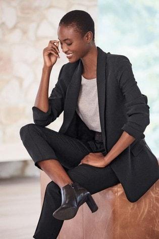 Black Relaxed Soft Crepe Blazer