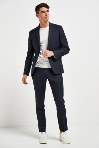 Navy Jacket Signature Check Slim Fit Suit