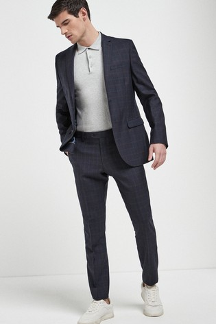 Navy Jacket Signature Check Slim Fit Suit