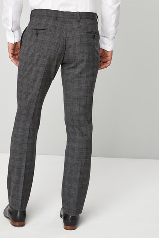 Grey Signature Wool Blend Check Slim Fit Trousers