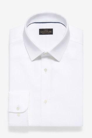 White Regular Fit Single Cuff Non-Iron Egyptian Cotton Stretch Signature Shirt