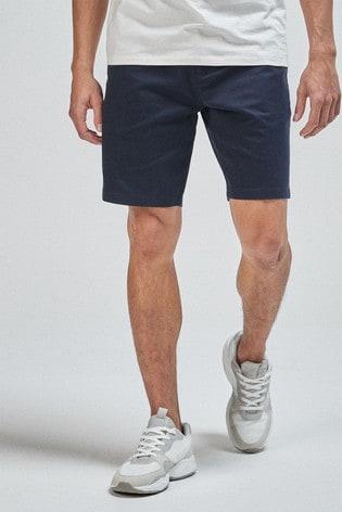 Navy Straight Fit Stretch Chino Shorts
