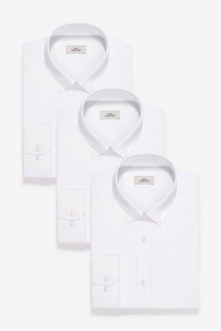 White Slim Fit Single Cuff Shirts Three Pack
