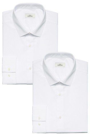 White Slim Fit Single Cuff Shirts Two Pack