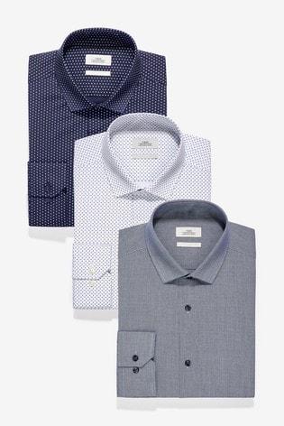 Blue Texture And Print Slim Fit Single Cuff Shirts Three Pack