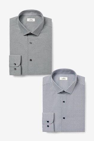 Grey Plain/Print Slim Fit Single Cuff Shirts Two Pack