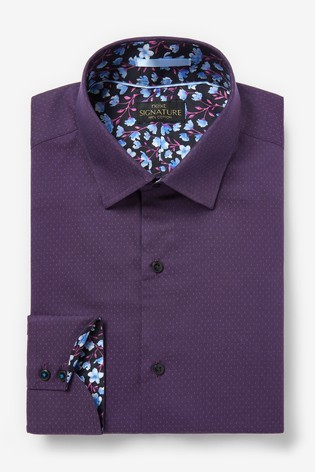 Purple Regular Fit Single Cuff Signature Trimmed Shirt