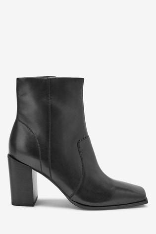 Black Signature Square Toe Boots