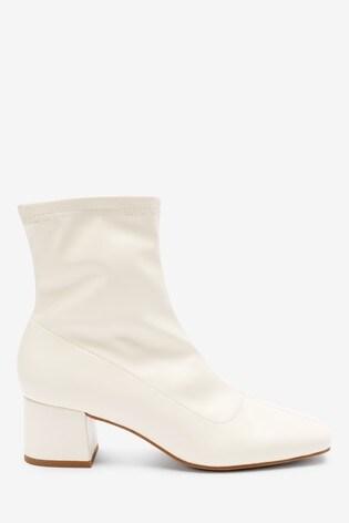 Bone Block Heel Sock Boots