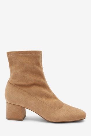 Camel Block Heel Sock Boots
