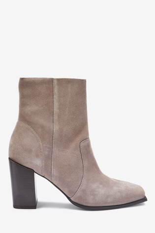 Grey Signature Square Toe Boots