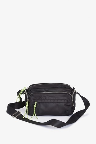 Black Recycled Polyester Across Body Bag