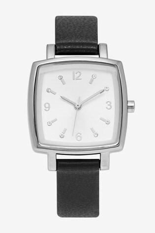 Black Square Case Strap Watch