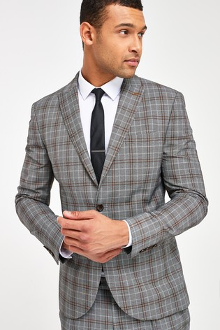 Grey Jacket Check Skinny Fit Suit
