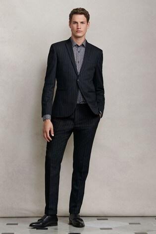 Black Jacket Stripe Skinny Fit Suit
