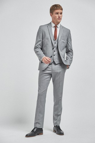 Light Grey Slim Fit Wool Mix Textured Suit: Jacket