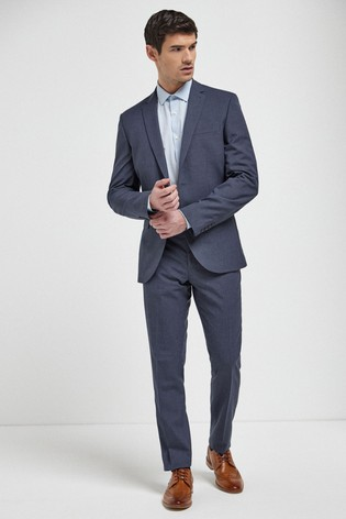 Blue Slim Fit Wool Mix Textured Suit: Jacket