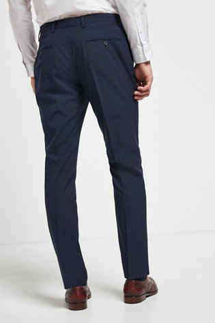 Navy Slim Fit Wool Mix Textured Suit: Trousers