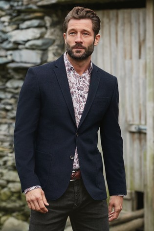 Navy Slim Fit Textured Blazer