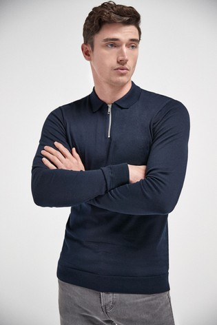 Navy Knitted Zip Neck Poloshirt